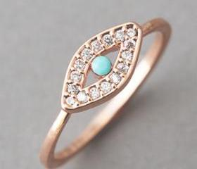 Turquoise Evil Eye Ring Rose Gold - US 6.5, US 8