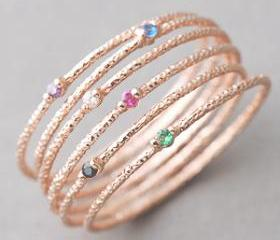 Rose Gold Stackable Rings Set of 6