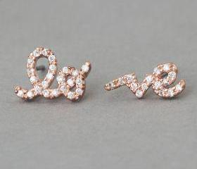 Rose Gold Love Stud Earrings from Kellinsilver.com